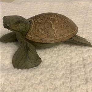 Hand carved wooden Turtle candle holder